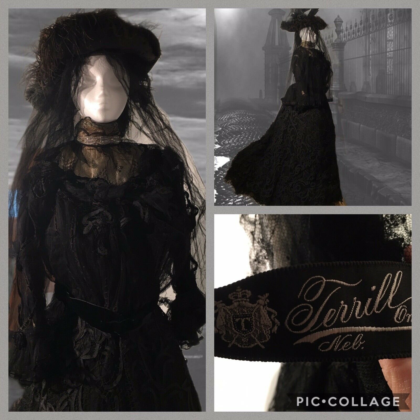 ANTIQUE 19th Victorian LACE MOURNING BUSTLE DRESS… - image 1