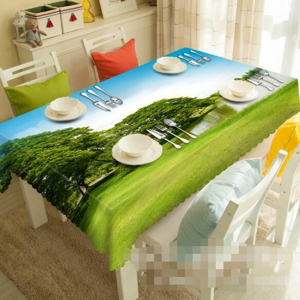 3D Lakeside Lawn Tablecloth Table Cover Cloth Birthday Party Event AJ WALLPAPER