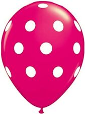 "10 pc - 11"" Qualatex Big Polka Dot Wildberry Pink Latex Balloon Party Decoration"