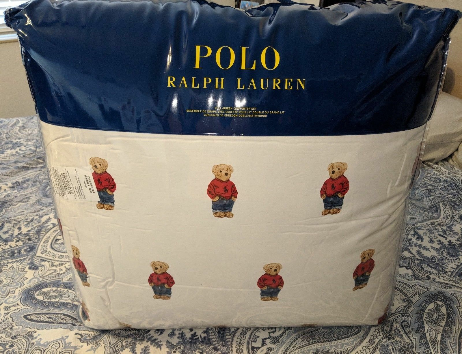Ralph Lauren Polo Teddy Bear Comforter SET BOY NWT with Sham's