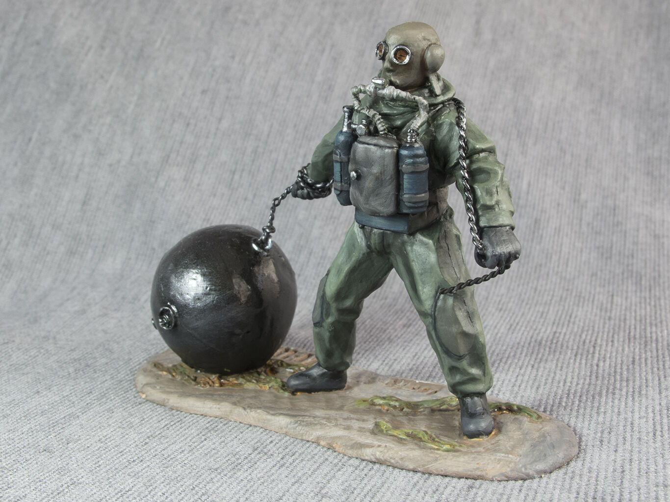 Painted WW2 USSR Combat Swimmer Miniatures 1 32 Metal Figure Toy Soldiers 54mm