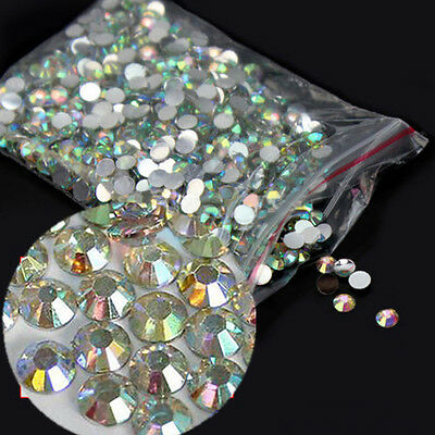 1000x Hot Womens 4mm Nail Art Flatback Crystal AB Faceted Round Rhinestone Beads