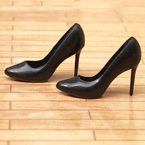 Miniature Black High Heel Shoes for 1/12 Dolls House Figures Accessory Decor