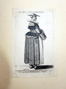 Wenzel-HOLLAR-old-print-engraving-Dutch-Navigator-Wife