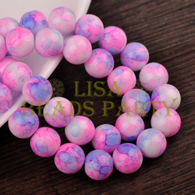 Hot 30pcs 10mm Round Charms Glass Loose Spacer Beads Deep Pink Blue Colorized