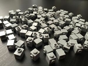 LOT-OF-100-BRAND-NEW-LEGO-LIGHT-GRAY-BRICKS-Modified-1-x-1-w-Stud-on-1-Side