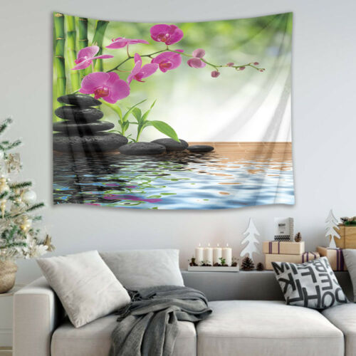 Spa Zen Stone Orchid Bamboo Tapestry Wall Hanging for Living Room Bedroom Decor