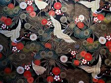 Oriental Cranes on Black/Gold fabric fq 50x 56cm 67790-4 100% Cotton