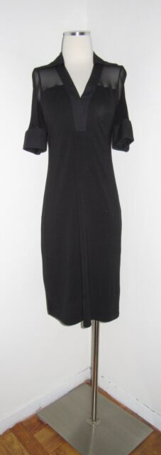 ANNE FONTAINE BLACK PIMA COTTON MESH INSET ROUDY DRESS 38