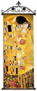 Gustav-Klimt-Der-Kuss-215x84-Olgemaelde-Handgemalt-Leinwand-Metal-Signiert