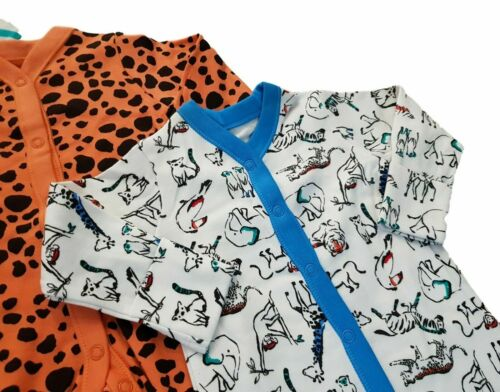 Bébé Garçons Ex Store 3 Pack Imprimé Animal BABYGROWS grenouillères-Multi Pack