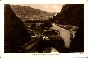 RPPC-The-Tanks-General-View-Aden-postcard-antique-Egyptian-Cigarettes