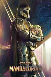 Star-Wars-The-Mandalorian-Holding-The-Child-POSTER-61cmx91-5cm-NEW-baby-yoda