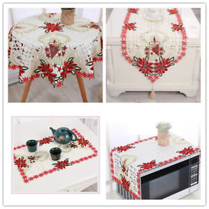 Christmas-Embroidered-Lace-Tablecloth-Dining-Table-Runner-Cover-Mats-Doilies