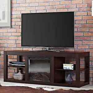 large media fireplace stand for tv 39 s up to 65 wood entertainment center console ebay. Black Bedroom Furniture Sets. Home Design Ideas