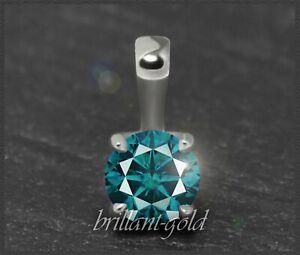 Diamant-Brillant-Damen-585-Gold-Anhaenger-0-30-ct-blaugruen-VS1-Weissgold-NEU