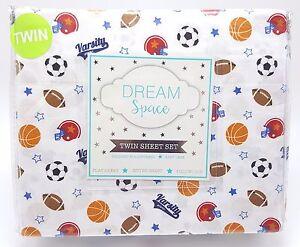 Boys-Twin-Sheet-Set-Sports-Fan-3pc-Football-Basketball-Soccer-Varsity-New