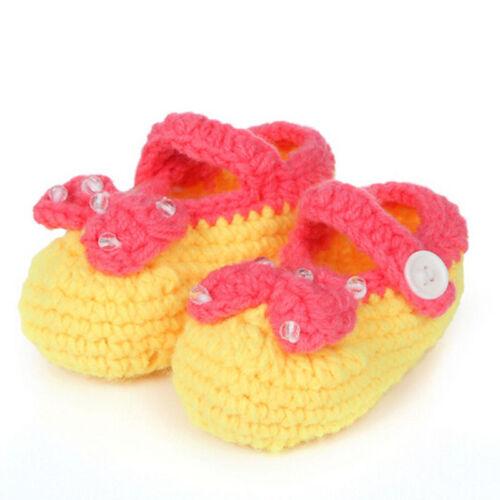 Winter Crib Crochet Casual Baby Girls Handmade Knit Sock Infant Foliage Shoes