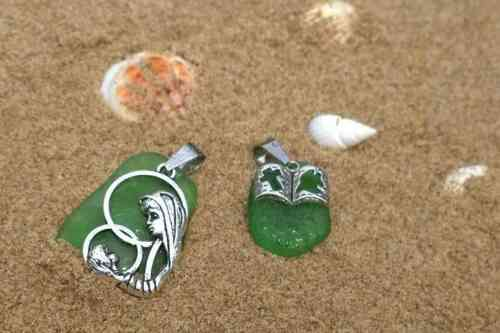 Sea Beach Glass Jewelry Pendant Charm Combined Religious Silver Plated JCT ECO®