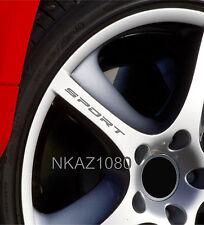 SPORT Decal Sticker Wheels Rims Racing Sport car Sticker Emblem logo SILVER 4pcs