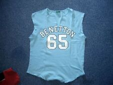 Benetton - T-Shirt  Gr.M  Hellblau m.Glitzer-Print  sehr apart  TOPZUSTAND