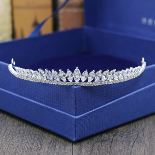 Full AAAAA CZ Cubic Zirconia Wedding Bridal Party Pageant Prom Tiara 13cm Wide