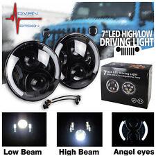 7 Inch Round LED Headlights Halo Angle Eyes For Jeep 97-2016 Wrangler JK LJ TJ