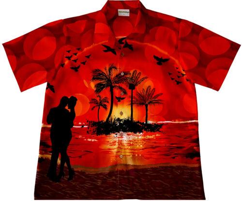 Camicia Hawaii ROMANTIC Evening Taglia M 6xl 100/% Cotone Camicia HAWAII spiaggia rosso