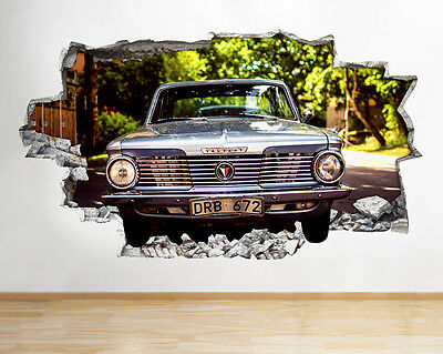 C838 Vintage Car Street Valiant Smashed Wall Decal 3D Art Stickers Vinyl Room