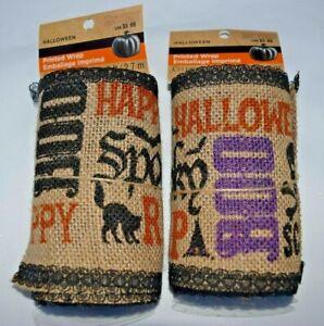 Lot-of-2-Halloween-Fall-Printed-Wrap-Burlap-Ribbon-9ft-Each