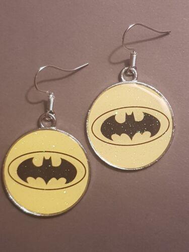 Batman enamel charm handmade earrings silver earwires hooks