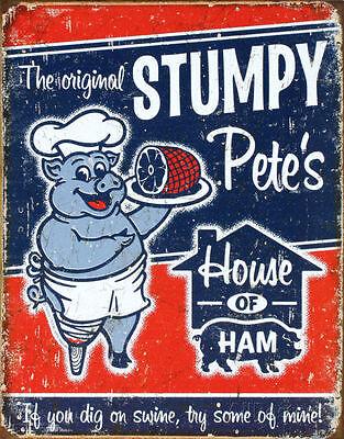 STUMPY PETES HAM Retro Vintage Tin Sign BBQ Pork Man Cave Garage Decor S-1794