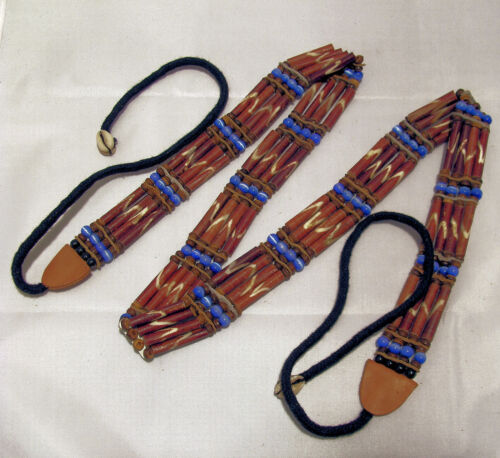 Femmes Indien ceinture marron 80 cm de Art os et perles
