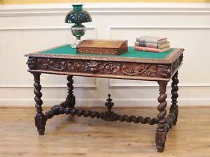 Image Is Loading Antique English Dark Oak Barley Twist Carved Desk