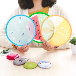 New Cartoon Portable Round Hand Fan Cooling Pocket Portable Fan Foldable