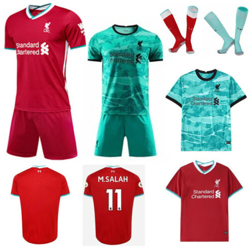 20-21 Football Kit Red Soccer Suits Kids 3-14Y Jersey Strips Sports Outfit+Socks