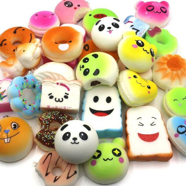 Trasfit 12 Pieces Random Squishy Charms Kawaii Soft Foods Squishies Cake/Pand...