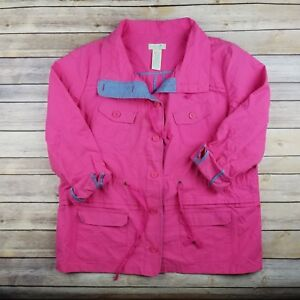 meet classic style fine craftsmanship Details about Caribbean Joe Womens L Bright Pink Raincoat Light Jacket Roll  Over Sleeve