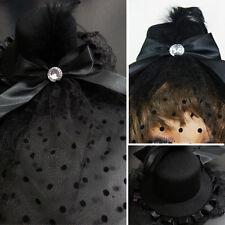 Burlesque CZ Jewel Gothic Victorian Black Top Hat w/Birdcage Black Feathers/Mesh