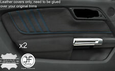 BLUE  STITCH 2X REAL LEATHER DOOR CARD TRIM COVERS FITS FORD MUSTANG 2015-2017