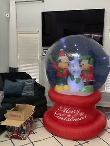 Gemmy Airblown Inflatable Disney Lightshow Holiday Globe Mickey Minnie Mouse