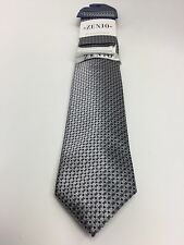 Zenio Slim Tie & Two Hankies Set Silver Black White & Gray for Men Microfiber