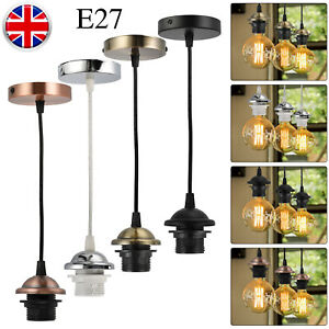 1 2m Cable E27 Ceiling Light Spiral Hanging Wire Chandelier Lamp Holder Retro Uk Ebay