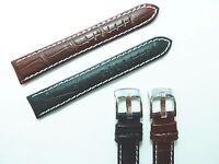 Black,Brown Mens Crocodile Genuine Soft padded Leather Watch Strap 18mm-24m