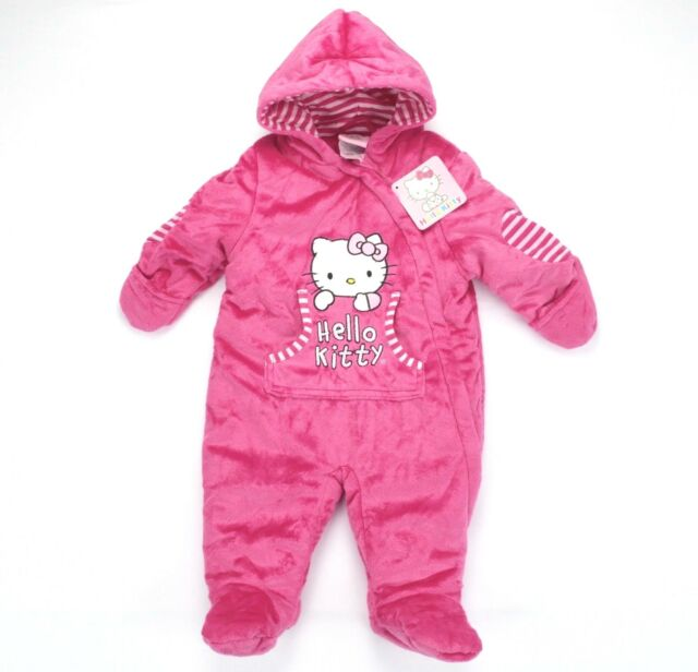 897fb0029 Hello Kitty Sanrio Infant Girl One Piece Hooded Winter Outfit Fuzzy Pink 3/6  Mos
