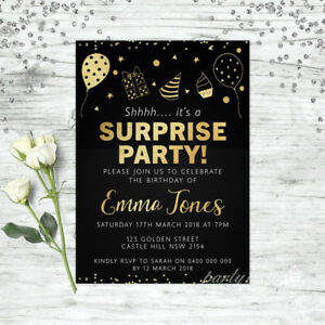 SURPRISE-PARTY-BIRTHDAY-INVITATIONS-GOLD-PERSONALISED-PARTY-SUPPLIES-INVITE