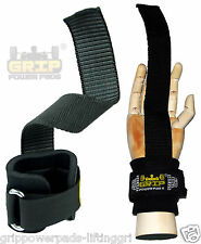 NEOPRENE-PADDED Rubbered WEIGHT LIFTING STRAPS Bar Wrist Wraps Grip Pad NO-SLIP