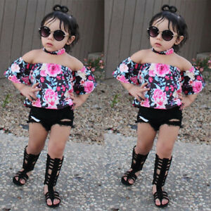f2abc691e2f58c 3PCS Kids Toddler Baby Girl Floral Off Shoulder Tops+Jeans Shorts ...