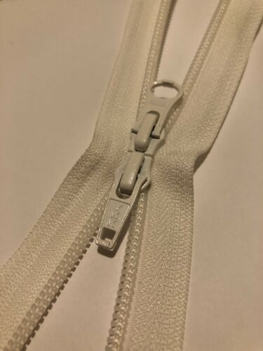 YKK 2WAY NO-5 36 Pulgadas de 91 cm de largo Zip Nylon Blanco de bobina abierta