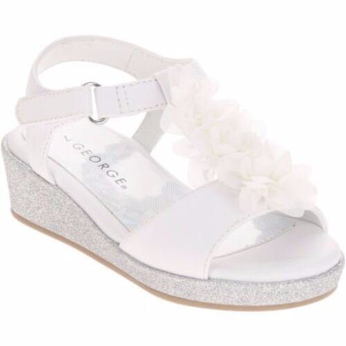 10 Toddler Girl NEW 7 Glitter Wedge White Flower Dress Sandals George 6 9 8